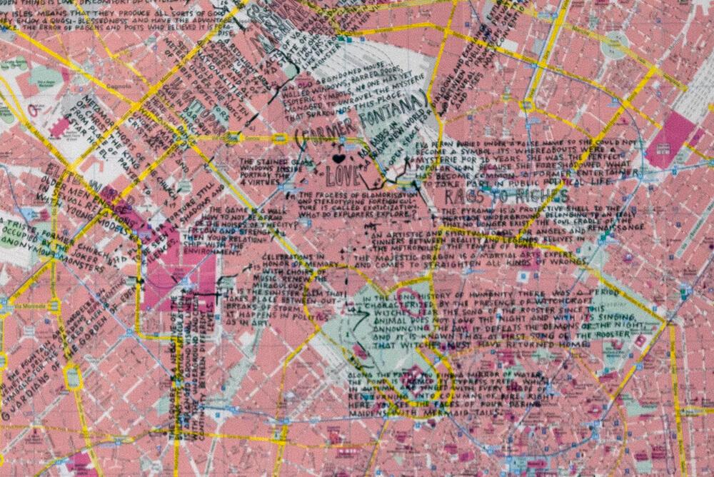 Nabuurs & Van Doorn, From Tahiti to Milan, 2019, inkt op stadskaart Milaan, 1247 x 956 mm