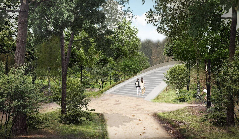 voetgangersbrug Einderheide bezien vanaf de recreatieve route